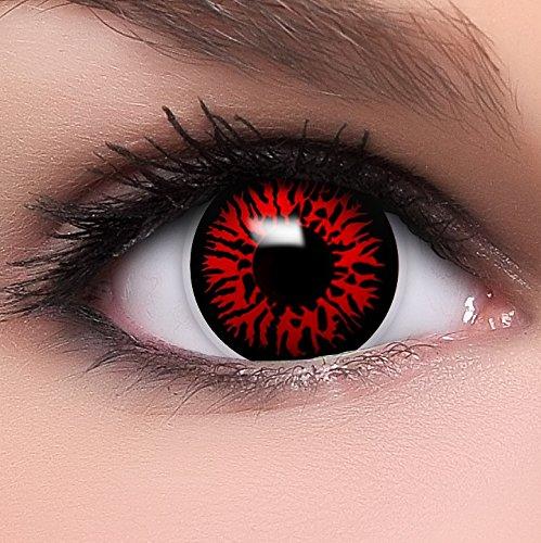 Farbige rote Kontaktlinsen Dämon MIT STÄRKE + Behälter von Linsenfinder, weich, als 2er Pack - angenehm zu tragen und perfekt zu Halloween, Karneval, Fasching oder Fasnacht
