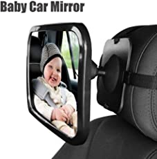 Magnusdeal Baby Back Seat Car Safety Mirror with Adjustable Straps for Rear Facing Car, Extra Large Size, 360 Degree Adjustability, Shatterproof - Essential Safety Glass Accessory For Newborns & Young Children Backseat Rear View Clarity | Babies, Toddlers | Fits Cars, Trucks, SUVs |