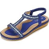 gracosy Sandalias Planas Verano Mujer Estilo Bohemia Zapatos para Mujer de Dedo Sandalias Talla Grande 37-43 Cinta Elástica C