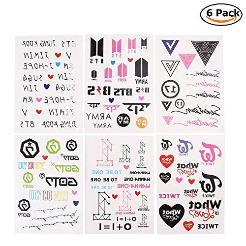 tan Jungen Tattoo Aufkleber | KPOP BTS GOT7 WANNA ONE TWICE SEVENTEEN Hip Pop Tattoo Stickers (Mann Pop Art Kostüm)