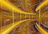 FORWALL VLIESFOTOTAPETE Fototapete Tapete Wandbild Vlies   Welt-der-Träume  Gelb Korridor   V8 (368cm. x 254cm.)   Photo Wallpaper Mural 10082V8-AW   Abstraktion Abstrakt 3D Geometrisch Geometrie