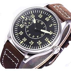 44mm steril schwarz Zifferblatt-6497Mechanische Herren-Armbanduhr