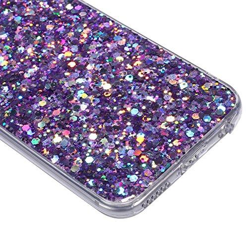 iPhone 6S Plus Hülle,iPhone 6 Plus Hülle,iPhone 6S Plus 360 Grad Hülle,SainCat TPU Silikon Hülle für iPhone 6 Plus/6S Plus [Thin Fit 360] Komplettschutz Front + Back Rundum Double Beidseitiger Schutzh Sparkling Purple