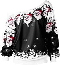NPRADLA 2018 Herbst Winter Damen Blusen Elegant Festlich Große Größen Frauen Tops Schlitzkragen Frohe Weihnachten Weihnachtsmann Druck Skew Kragen Sweatshirt