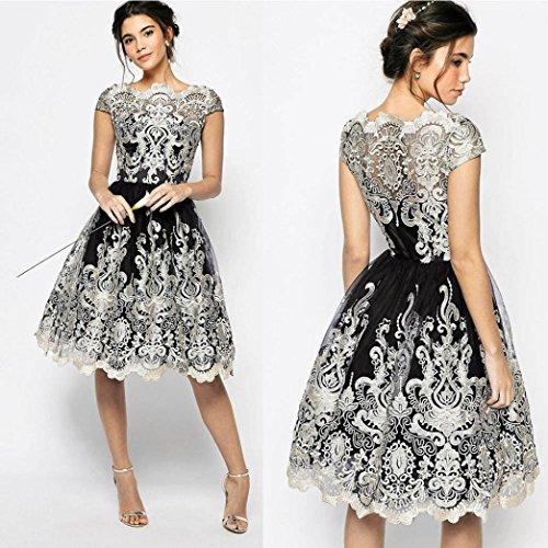 DOLDOA Damen Spitze Abendgesellschaft Brautjungfer Ballkleider CocktailKleid Vintage Kleid (EU:42, Schwarz- Vintage Spitze Stickerei Kleid) (Ring Neckholder-badeanzug)