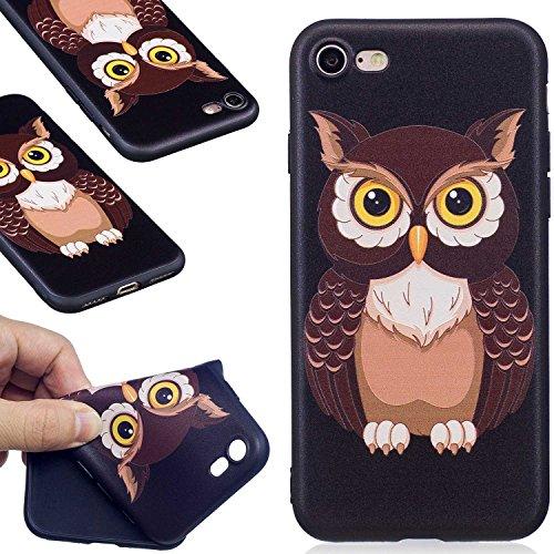 Guran® TPU Schutzhülle Silikon Case für iPhone 7 / iPhone 8 Smartphone Handytasche Gemalte Handyhülle Cover - Nachteule color08