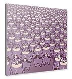 artboxONE Alu Print 60x60 cm Tiere Kindermotive Comic Sloth tastic! beige hochwertiges Alu Dibond Bild   Wandbild Tiere Kindermotive Comic K