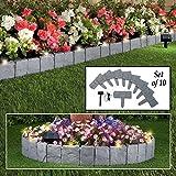 Parkland® Garten-Rasenkante mit Stein Effekt, grau gepflastert, Bordüre mit solarbetriebenen LED-Lichtern–zum Einhämmern