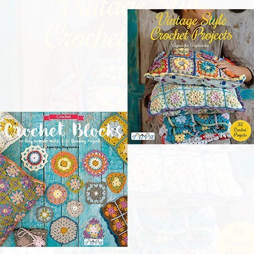 Crochet Blocks and Vintage Style Crochet Projects 2 Books Bundle Agnieszka Strycharska Collection - 60 Easy-To-Make Motifs & 15 Stunning Projects