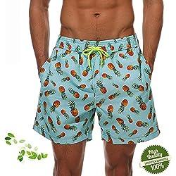 DOTBUY Elegante Bañadores para Hombre, Secado Rápido Verano Ocasional De Los Hombres Imprimió Transpirable Pantalones Cortos Surf Playa Verano Vacaciones Traje de Baño (M, Piña)
