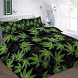 STYLELIVING Cannabis Weed, mit reversibler Bettbezug Quilt Bettwäsche-Set mit Kissenbezug, Double King Super King, Schwarz, Einzelbett
