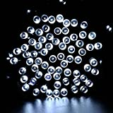 lederTEK Solar Powered Waterproof Fairy String Lights 39ft 12m 100 LED 8 Modes Christmas Decorative Lamp for Outdoor, Garden, Home, Wedding, Xmas New Year Party (100 LED White)