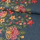 Jeansstoff einseitige Bordüre Blumen Stickerei Modestoffe
