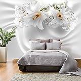 murando - Fototapete Blumen Lilien 350x256 cm - Vlies Tapete - Moderne Wanddeko - Design Tapete - Wandtapete - Wand Dekoration - Blume Abstrakt weiß 3D Optisch Illusion b-C-0158-a-a