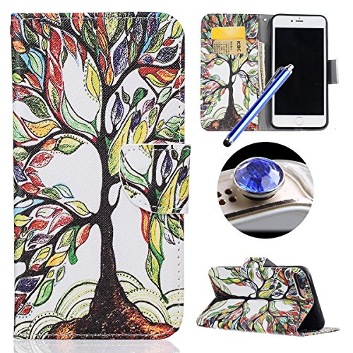 Etsue Cuir Housse pour iPhone 7 Plus,Folio Book Style Coque Fermeture Aimanté avec Coloré Mode Motif Cover pour iPhone 7 Plus,Flip Leather Walllet Case for iPhone 7 Plus + 1 x Bleu stylet + 1 x Bling  Painted arbre