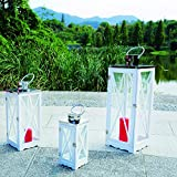 3er Set Luxus XL Gartenlaterne Holz und Edelstahl Dach Windlicht Laternen Kerzenhalter Höhe 36/51/71 cm Weiß