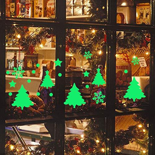 Zolimx Weihnachts-Wandaufkleber Wanddeko Glow In The Dark Schlafzimmer Wohnzimmer Mädchen Löwenzahn Weihnachten Schneeflocke Leuchtende Wandaufkleber Dekor