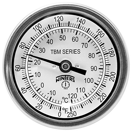 Winters TBM Series Stainless Steel 304 Dual Scale Bi-Metal Thermometer, 2-1/2 Stem, 1/2 NPT Fixed Center Back Mount Connection, 3 Dial, 0-250 F/C Range by Winters -