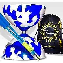 JESTER Pro Diabolo set (BLUE/WHITE)+(BLUE) Matching FIBER Diabolo