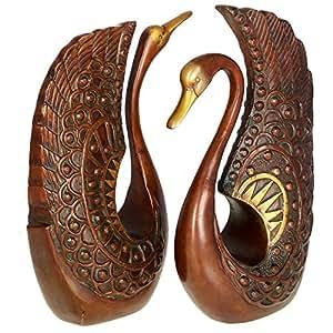 Kapasi Handicrafts Antique Swan Set Brass Showpiece (5 x 2 x 9 Inches)