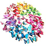 HaimoBurg 48 Pezzi 4 colori 3D Adesivi Murali Adesivi da Parete per Casa, Camera Decorazione Farfalle 12 Pezzi blu +12 Pezzi giallo +12 Pezzi verde +12 Pezzi viola