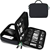 JESWO Cable Organiser Bag, Electronics Organizer Cable Tidy Bag Double Layer for Electronic Accessories Travel Organizer Bag for Cables, Power Bank, iPad Mini (Up to 7.9'') and More (Grey)
