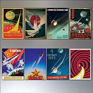 Weinlese-Sputnik-Atom-Sowjetraumraumrennen-Plakat-Kühlraummagneten stellten von 8 ein
