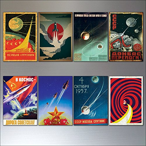 Weinlese-Sputnik-Atom-Sowjetraumraumrennen-Plakat-Kühlraummagneten stellten von 8 ein Atom-design