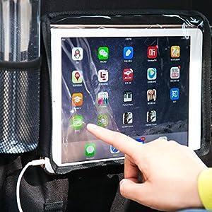 Car Seat Back Organizer With max 9.7 inch iPad / Tablet Holder Multi-Pocket Storage Kick Mat Organizer Protectors For Car, SUV, Baby Stroller