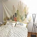 PYHQ Cactus des plantes succulentes Tapisserie Couvercle d'hippie suspendue murale Art Mandala Bohemia Throw Rideau Couverture de plage TableCloth Tapis de tapis de yoga Couvre-lit Littérature Tropical Urbain 150 x 130cm
