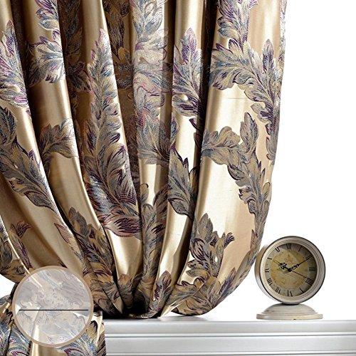 Preisvergleich Produktbild Luxus Vorhänge für Wohnzimmer Pfauenfeder Verdunklungsrollo Jacquard Drapes für Schlafzimmer Fenster Shading bereit Panels Größe 1, 1pc(200x245cm)