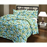 Renown Products Pretty Attractive Blue Floral Design Print Reversible Double Bed AC Blanket / Dohar / Quilt ( Pack Of 1 )