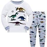 Bambini e Ragazzi Pigiama Pigiami Due Pezzi Indumenti da Notte Dinosauro di Manica Lunga Pjs Impostato per Ragazzi Bambini Ta