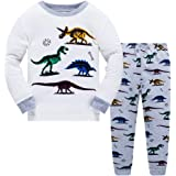 LitBud niños Pijamas Conjunto 100% algodón Dinosaurio Ropa de Dormir Pijamas Largos Pjs Conjunto tamaño para niños pequeños R