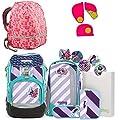 Ergobag Pack ÜBärflieger Special Edition Schulrucksack-Set 7tlg + Regenhaube Pink + Sicherheitsset Pink