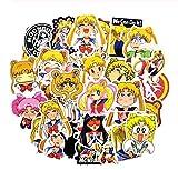 ZJJHX Anime Sailor Moon Adesivi Simpatici Cartoni Animati Rulli per Bagagli Adesivi per valigie Graffiti Chitarra Scooter Adesivo per Laptop Regali Fai da Te 50 Pz.