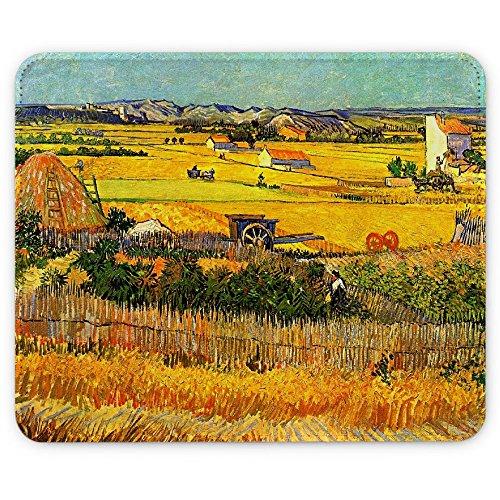(Van Gogh - Harvest At La Crau With Montmajour In The Background, Designer Leder Mousepad Unterlage Mauspad Maus-Pad Stark Anti Rutsch Unterseite für Optimalen Halt mit Lebhaftes Motiv Kompatibel mit Apple Magic Maus. Ideal für Gamer und für Grafikdesigner)