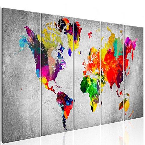 decomonkey | Bilder Weltkarte 225x90 cm 5 Teilig | Leinwandbilder | Vlies Leinwand | Wandbilder | Wand | Bild auf Leinwand | Wandbild | Kunstdruck | Wanddeko modern Aquarell bunt Graffiti DKA0109a5L