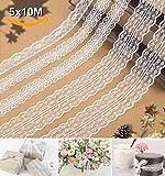 Spitze-Borten ,POAO 5x11 Yards Spitzenband Muster Weiß Vintage Spitzenstoff Baumwolle Spitzenbordüre für Nähen Handwerk Hochzeit Weihnachten Party Deko Scrapbooking Geschenkbox