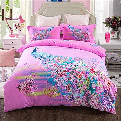 CanKun Neue Baumwolle Bettbezug Kissenbezug und Bettlaken Set Bettwäsche Vier Sets , 033 , König (Bettwäsche-sets König In Lila)