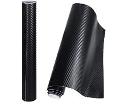 Anpro 2 Rollos Vinilo Coche Fibra de Carbono Adhesiva 3D / Cubierta Adhesiva Negro para Coche/Pegatinas para Coche/Envoltura