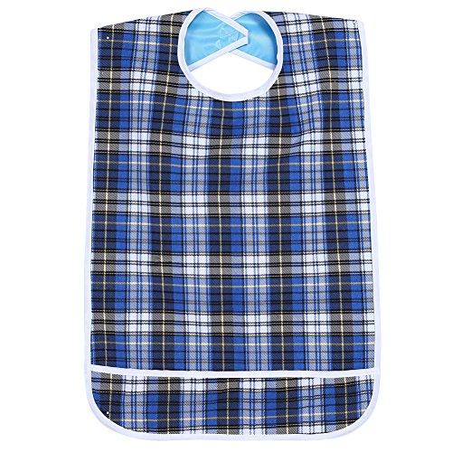 Lätzchen für Erwachsene Streifen Wasserdicht Erwachsenen Essen Bib Wiederverwendbare Mealtime Kleidung Protector Dining Aid (Blue) -