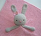 Kuscheltuch Schmusetuch Hase, gestrickt/gehäkelt, rosa