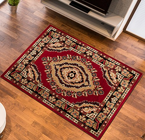 Tapiso Area Rugs For Living Room & Bedroom | Red Beige EYE Traditional Pattern Durable Carpet Stylish Mosaic Home Design | Atlas Collection Size - 80 x 150 cm (2ft7 x 4ft11)
