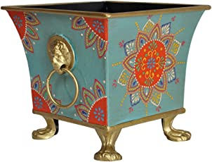 Lal Haveli Metal Planters -Planter Stand, Stand for Pots, Pot Stand for Plants in Balcony, Stand for Flower Pots 6.5 x 6.5 x 6 inch