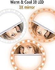 LST Selfie luce Ring Ricaricabili 38 LED regulable clip anillo luces iluminación portátil para teléfono móvil, Tablet, iPad, portátil, cámara (Bianco-Mirror)