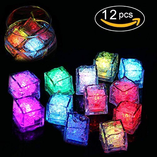 RRunzfon 12pcs Cubitos de Hielo Super Brillante Luz LED LED Luz Vino Decoración Boda Party Bar Club