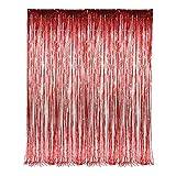 "Red Fringe Foil Curtain Decoration 36"" X 96"""