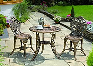 Gablemere Tulip 2 Seater Bistro Set, Bronze, with Round Table