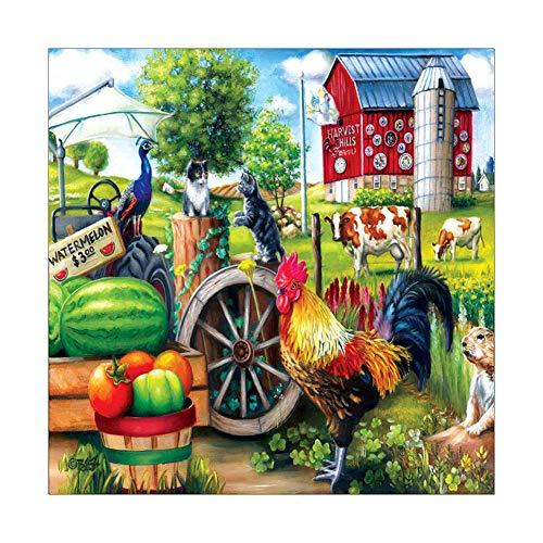 zmigrapddn Diamant Malerei Kits,Voll Bohrer Kristall Stickerei Kreuzstich Kunsthandwerk Leinwand Wanddekor Hahn Obst Gemüse Bauernhof Muster 30 * 30 cm -